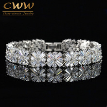 CWWZircons Women Fashion Jewelry Gorgeous Silver Color Spring Flower Cubic Zirconia Connected Tennis Bracelet CB010