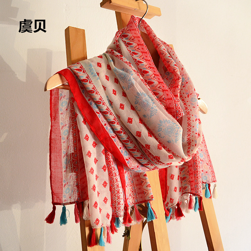 Spring Autumn Winter Red Scarves Woman Summer Beach Sunscreen Cape Tassel Scarf Ethnic Style Pashminas Wrap Hijab Shawl Echarpe