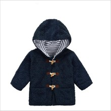Kids Style Kids Boys Fashion Casual Pure Color Long Sleeve Coat Boys Cotton-padded Clothes Kids Soft flannel Hooded Clothing