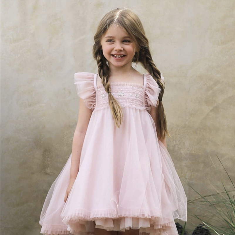 Summer Kids Dresses For Girls Butterfly Embroidery Girl Dress Children Boutique Clothing Tutu Baby Girls Clothes G031 in Dresses from Mother Kids