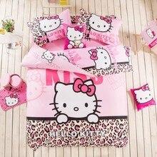 2017 Hello Kitty Bedding Set Children Cotton Bed sheets  Duvet Cover Sheet Pillowcase King/Queen/Twin 3/4Pcs