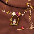 Romantic Fashion Enamel Glaze Blue Tit Birdie Cage Daisy Sweet pendants necklaces Short Chain Free Shipping