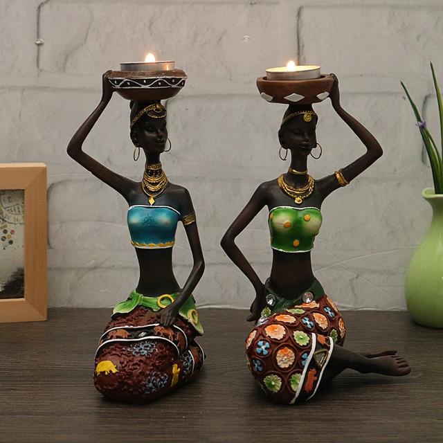 2Pcs Resin Figurine Craft Candlestick African Women