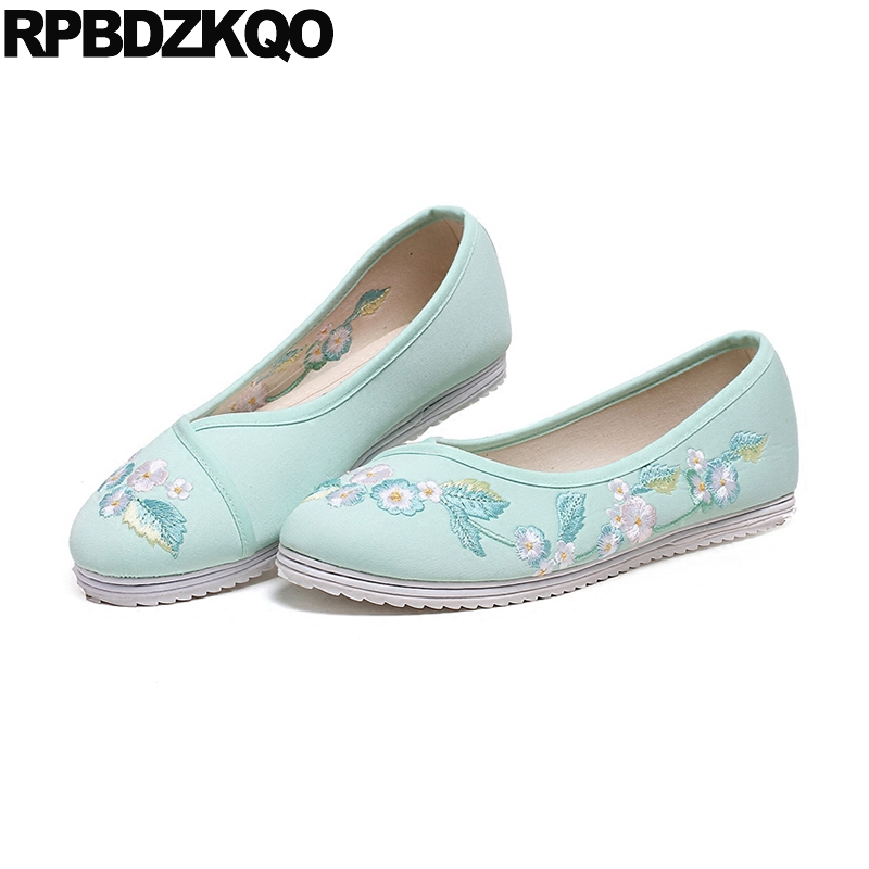 Cloth Old Peking Handmade Women Flower Slip On Floral 2018 Embroidery Blue Flats Pink Traditional Chinese Shoes Embroidered clearance sale spring chinese style flower embroidery handmade women shoes embroidered fashion flats shoes for ladies 4 colors