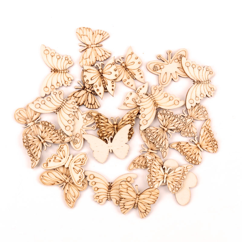 Handmade Wooden Crafts Accessories Home Decoration Scrapbooks Painting DIY Mix Butterfly Wood Ornaments 30-40mm 20pcs MZ331
