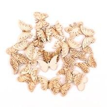Pintura artesanal de madeira, acessórios de decoração de casa, scrapbook, diy, mix de borboleta, enfeites de madeira, 30-40mm, 20 peças mz331