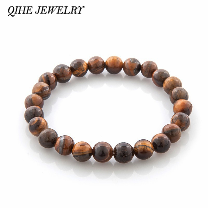 QIHE JEWELRY Tiger Eye Buddha Bracelets Natural Stone Lava Round Beads Elas..