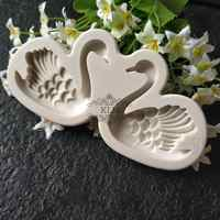 Nuevo molde de silicona Cisne pareja cumpleaños pastel decoración molde Chocolate molde KLM-0060