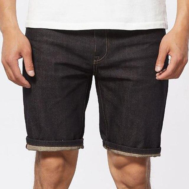 Summer Vintage Old School Denim Shorts Men Indigo Dyeing Bermuda