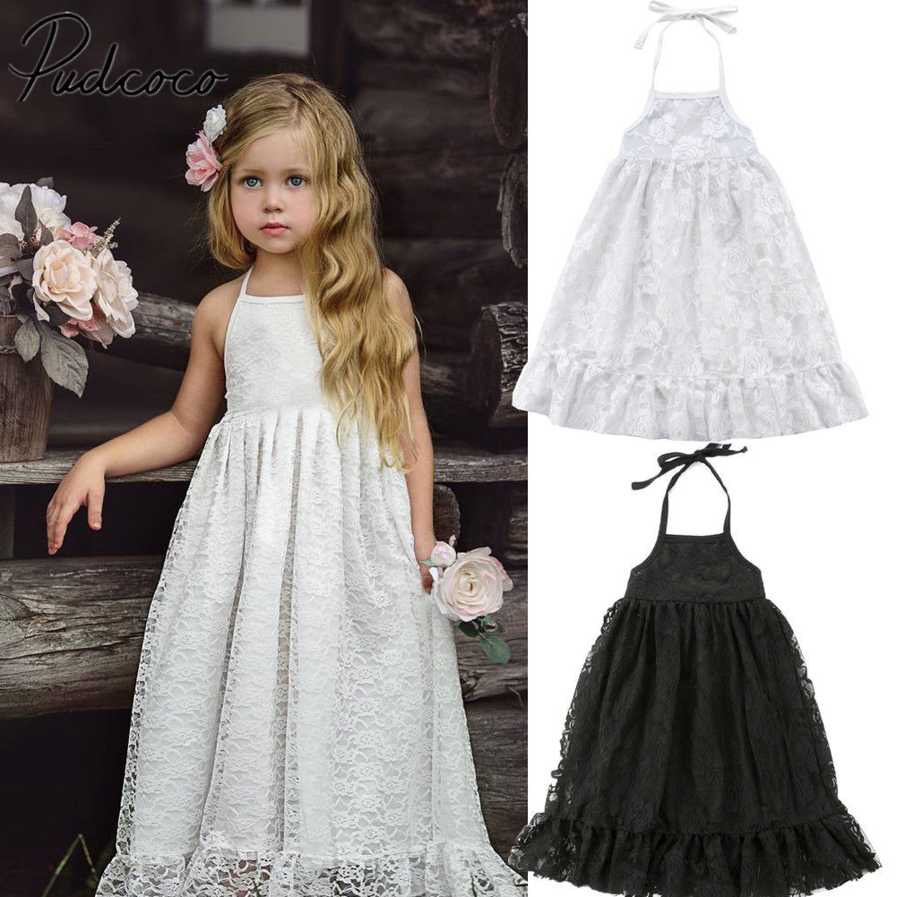 2018 Brand New Summer Toddler Infant Kid Baby Girl Pageant Princess Backless Solid Lace Strap Dress Summer Maxi Sundress 1-7T