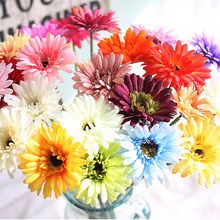 New Arrival Silk Gerbera Artificial Flower Bouquet For Wedding Car Decoration DIY Garland Decorative Floristry Flowers GHMY(China)