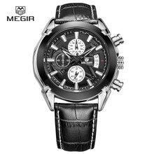 Megir новинка бренд кварцевые часы мужчины relogio choronograph спортивные часы человек водонепроницаемый календарь наручные часы для мужчин
