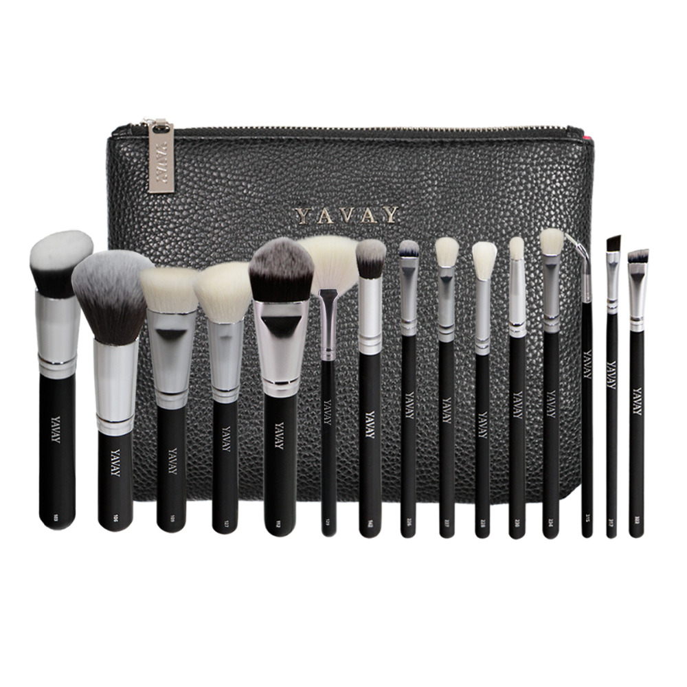 YAVAY 15 Pcs LUXE Complete Makeup Brushes Set Professional Luxury Set Make Up Tools Kit Powder Blending Brushes Y15C