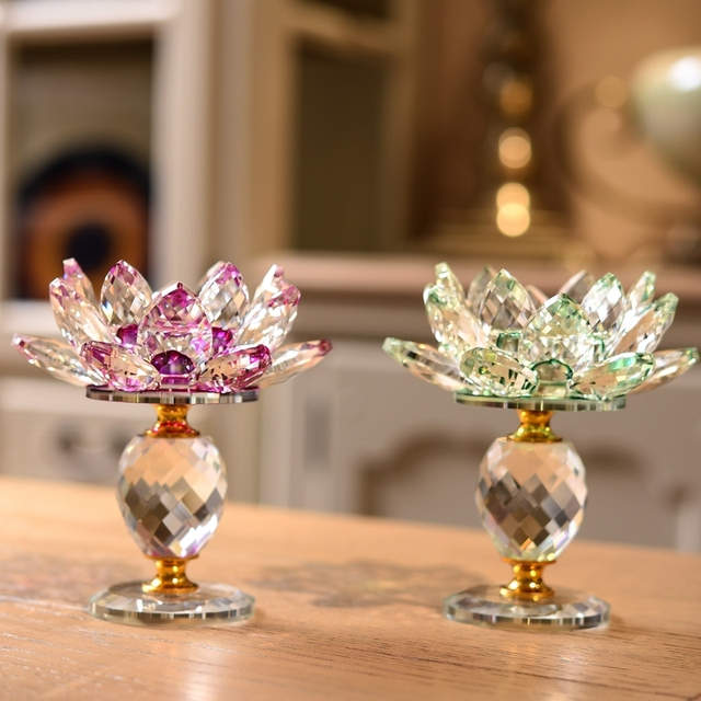 3 Style Crystal Glass Lotus Flower Candle Holder (8 Colors) 3