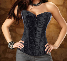 Black/white Jacquard Floral Overbust Corset / Waist Cincher and Body Shaper