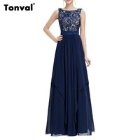 Tonval Asymmetric Chiffon Long Dress Lace Elegant Evening Party Maxi Dresses Sleeveless Backless Sexy Summer Dress