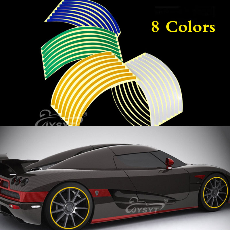 12 <font><b>14</b></font> Inch Colorful Reflective Stickers Strip Wheel <font><b>Rim</b></font> Stripe Reflective Safety Warning <font><b>Rim</b></font> Decor for Car Motorcycle image