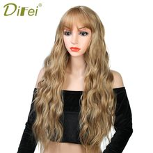 DIFEI 26 Long Mix Purple Womens Wigs with Bangs Heat Resistant Synthetic Wavy for Women African American