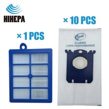 10pcs S bag Dust Bags and 1pcs H12 Vacuum Cleaner HEPA Filter for Philips Electrolux FC9083 FC9087 FC9088 Vacuum Cleaner Parts