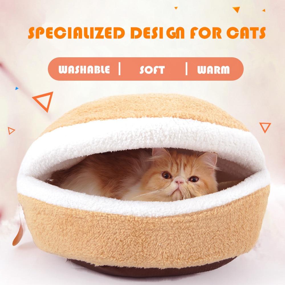 Unique Hamburger Design Cat House Winter Warm Comfortable Puppy Cat Cushion Bed Nest 4 Season Pet Kennel Supplies Dropshipping
