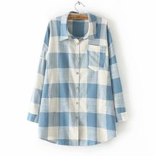 Shirt Women Plaid Cotton Long Sleeve Casual Blouse For Girls Korean Top Streetwear Autumn And Winter