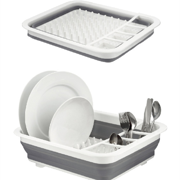 Hot Sale Silicone Folding Dish Rack Home Kitchen Organizers Storage Shelf Plate  Dish Drainer Bowl Cup Spoon
