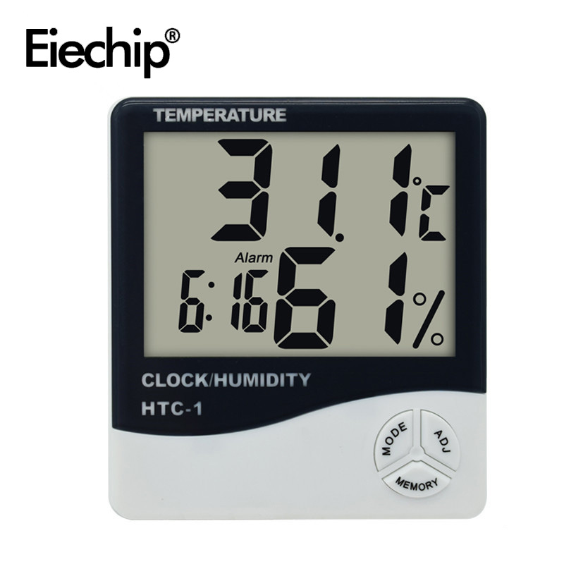 Indoor Room LCD HTC-1 Electronic Digital Thermometer Hygrometer With Clock Humidity Meter Tester