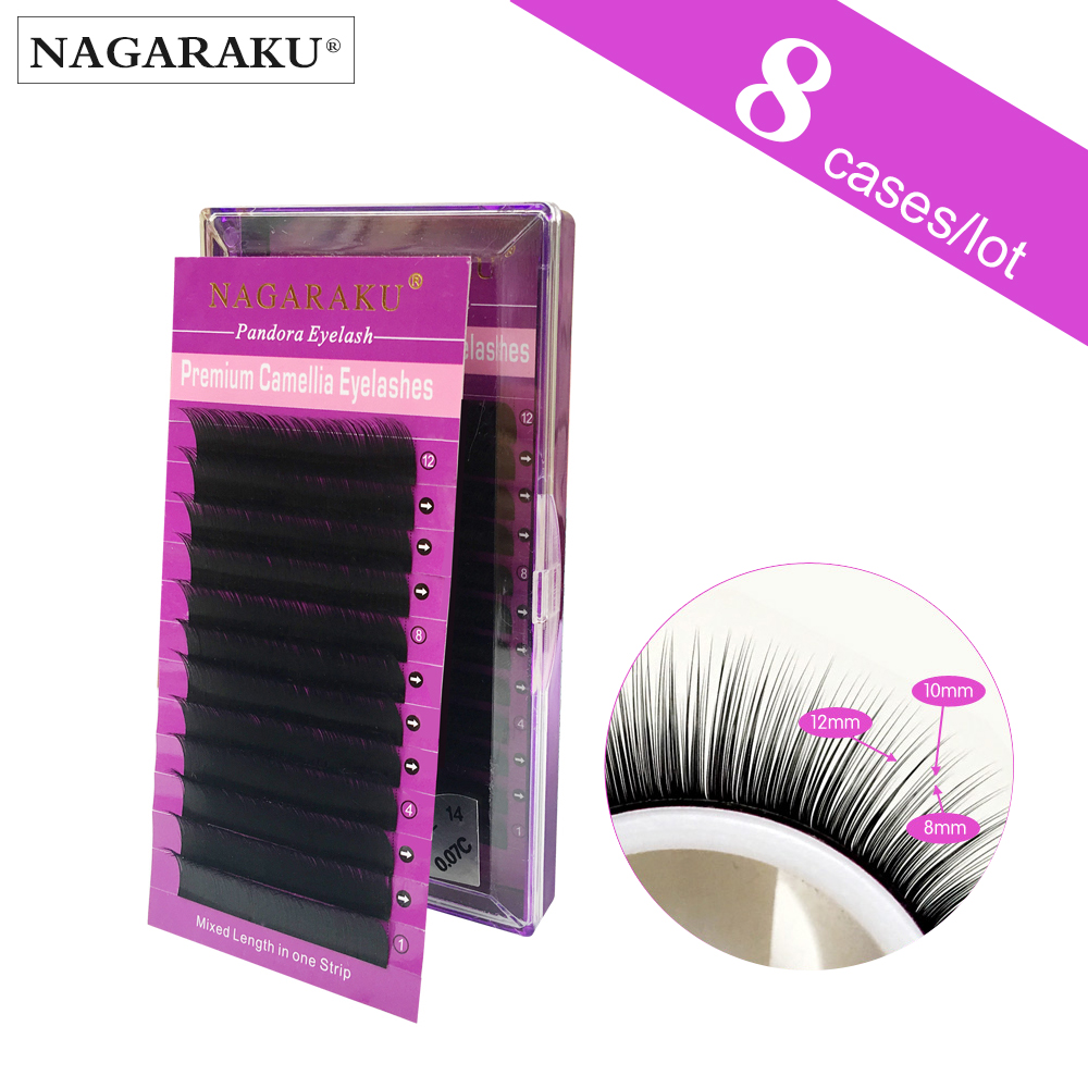 8 cases NAGARAKU 3D 9D 12 rows 0 07 Volume Eyelash Extensions Mixed Length in One