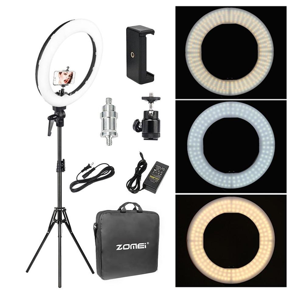 Zomei 18 ''iluminación fotográfica regulable estudio vídeo LED anillo luz 3200 5600 K para teléfono inteligente maquillaje en vivo Youtube retrato