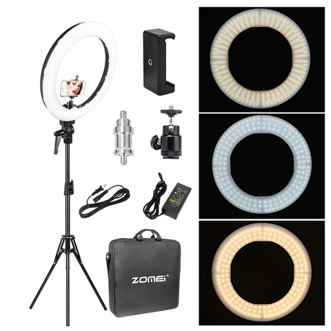 Zomei 18' Dimmable Photographic Lighting Studio Video LED Ring Light 3200-5600K for Smart phone Makeup Live Youtube portrait Pakistan