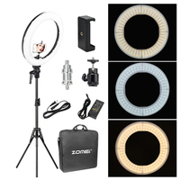 Zomei 18'' Dimmable Photographic Lighting Studio Video LED Ring Light 3200 5600K for Smart phone Makeup Live Youtube portrait