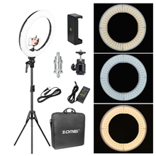 Zomei 18 بوصة LED مصباح مصمم على شكل حلقة عكس الضوء التصوير الفوتوغرافي الإضاءة استوديو الفيديو الضوئي 3200 5600K للهاتف ماكياج لايف يوتيوب صورة