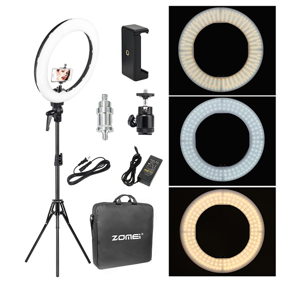 Zomei 18 ''Dimmable Iluminação Fotográfica Estúdio de Vídeo LED Ring Light 3200-5600 K para o telefone Inteligente de Maquiagem Ao Vivo retrato do youtube
