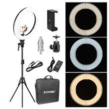 Zomei 18 inç LED halka ışık dim fotoğraf aydınlatma stüdyosu Video işığı 3200 5600K telefon makyaj canlı Youtube portre
