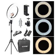 Zomei-Iluminación fotográfica regulable para estudio de vídeo, 18 pulgadas, Anillo LED de luz, 3200-5600K, para maquillaje de teléfono, retrato de Youtube en vivo