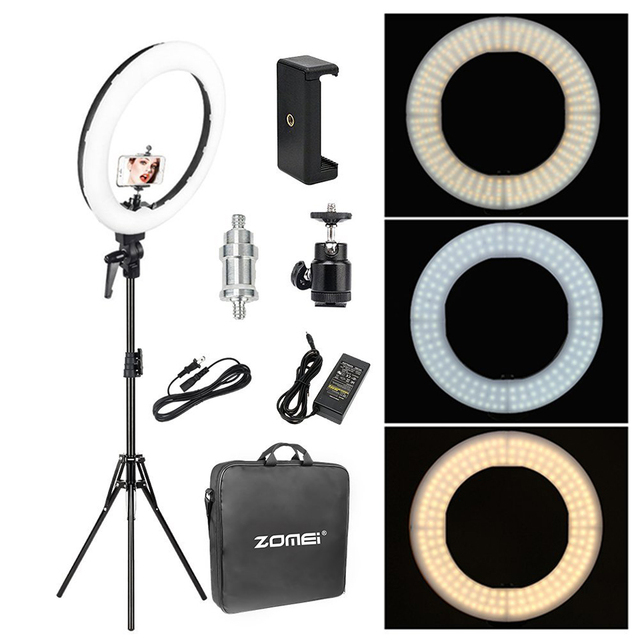 Zomei 18 inch LED Ring Light Dimmable Photographic Lighting Studio Video light 3200 5600K for phone Makeup Live Youtube portrait