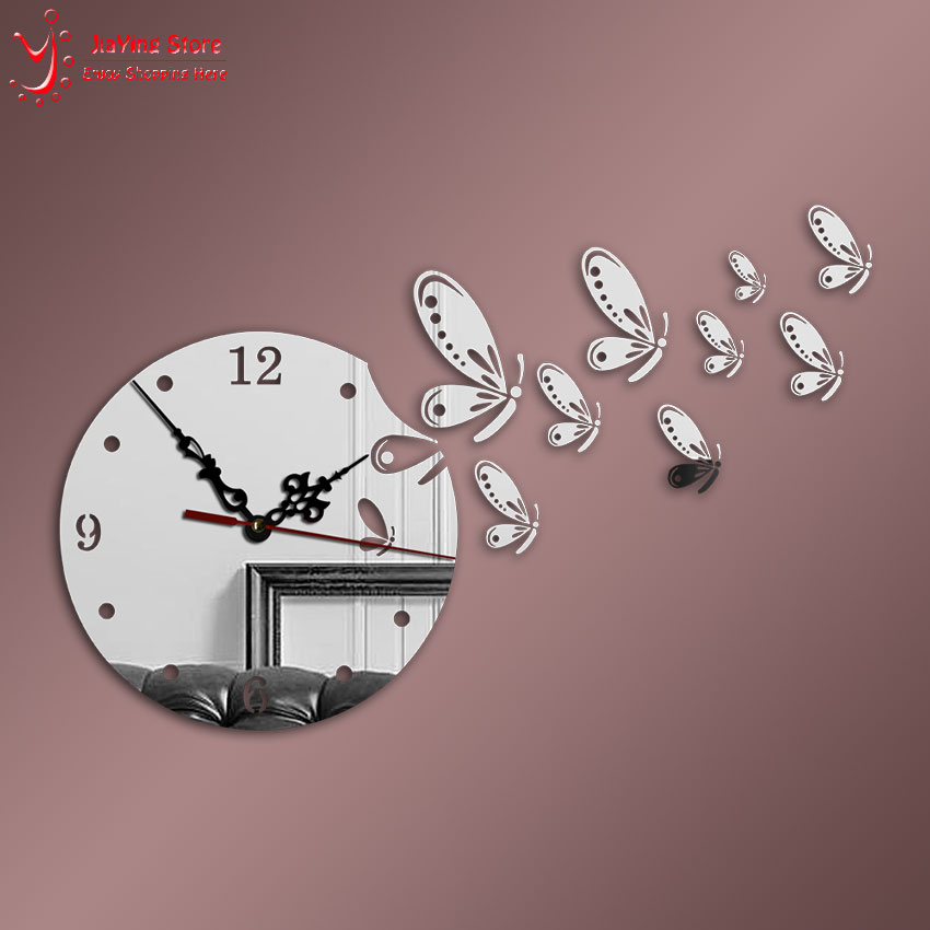 9pcs Dragonfly Crystal Clock Decorative 3d Diy Wall Clock