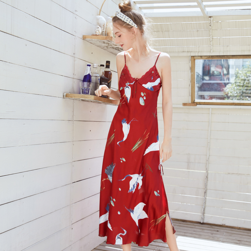NG0359 Women Sexy Long   Nightgown     Sleepshirts   Ladies Printed Satin Silk Sleepwear Nightdress Female Night Gown Summer Night Dress