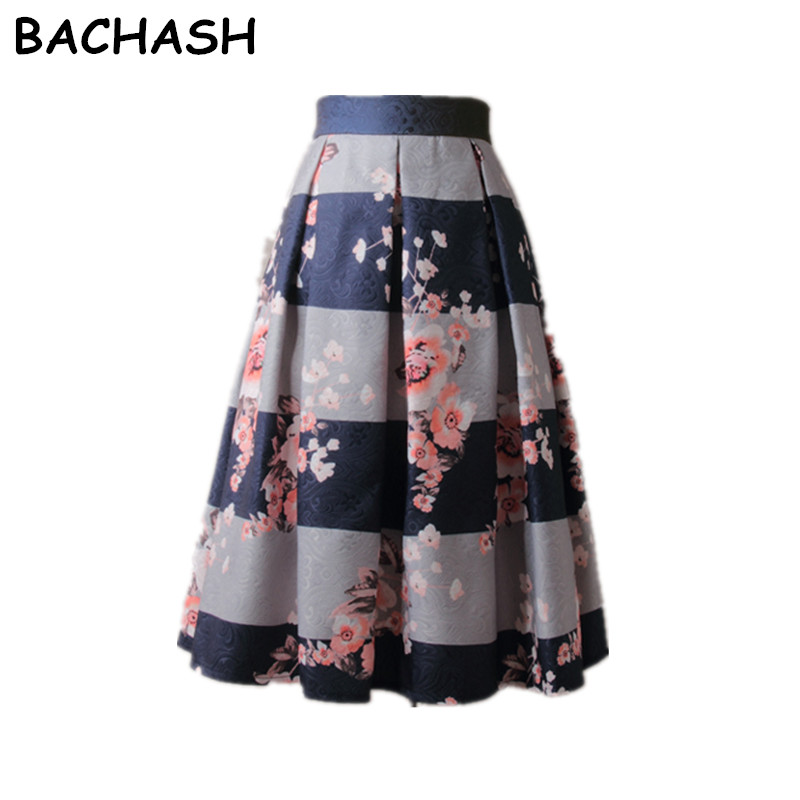 BACHASH Winter Autumn Women Vintage Flower Print <font><b>Ball</b></font> Gown Pleated High Waist Tutu Midi Blue Skater Knee Length <font><b>Skirts</b></font> Spring image