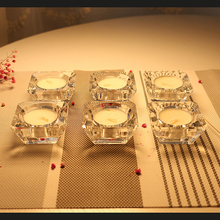 European Design 6pcs/set Crystal Candle Holders Double Hole Crystal Pillar Shape Candlestick Home,Wedding Decoration