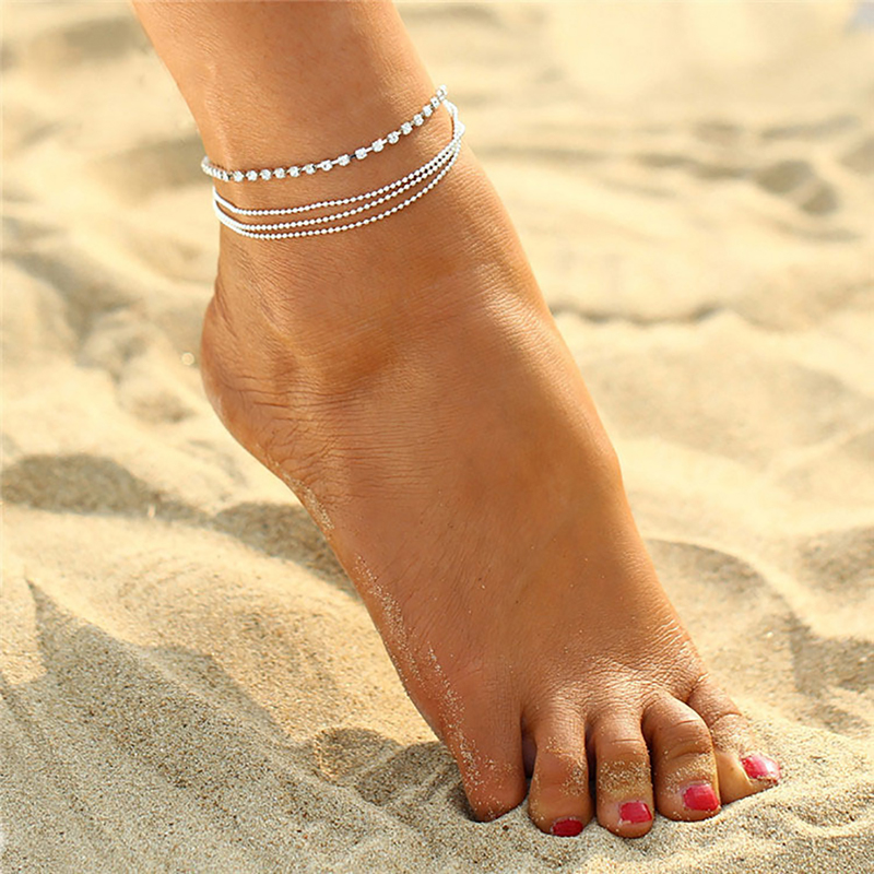 Mling Simple Anklet Bracelets For Women Cheville Barefoot Sandals Foot Jewelry Leg Chain On Foot Tobilleras De Plata Para Mujer4