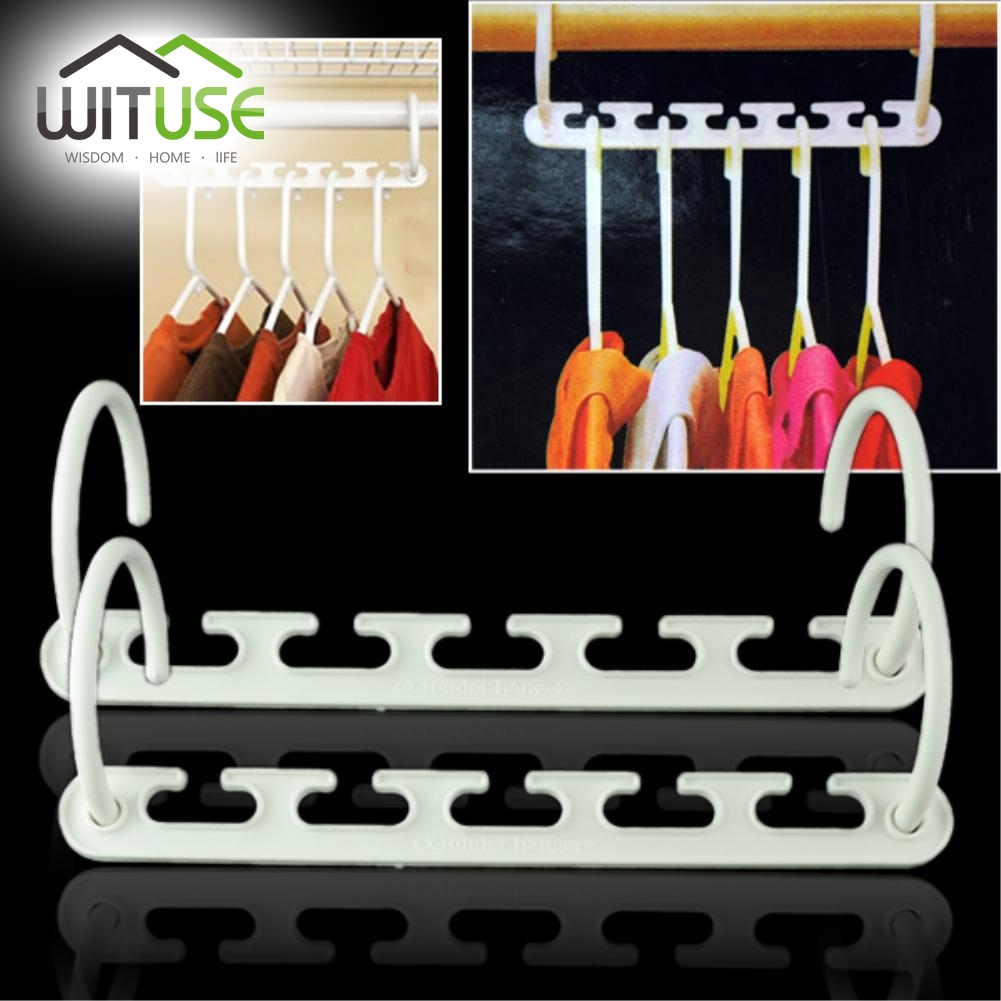 WITUSE 2pcs Useful Heavy Duty Plastic Wonder Hanger For Clothes Magic Metal Hanger Extension Closet Organizer Clothes Hook Rack