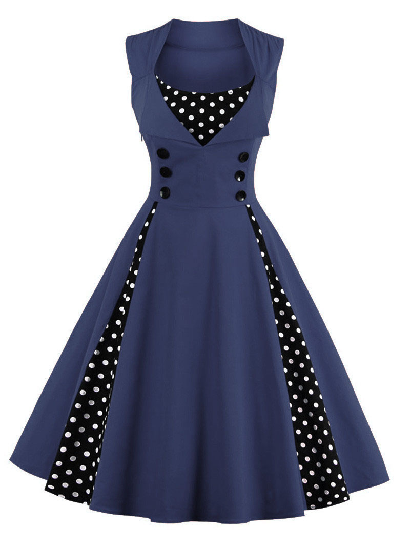 S-4XL Women Robe Retro Vintage Dress 50s 60s Rockabilly Dot Swing Pin Up Summer Party Dresses Elegant Tunic Vestidos Casual