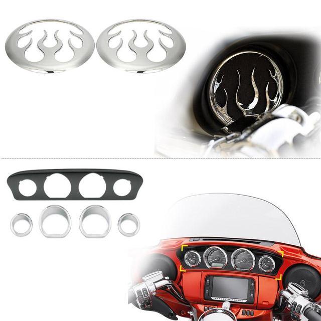 Chrome ABS Автомобилей Делюкс Tri-line Отделка Комплект Стерео Переключатель Панели Пламени Динамик Акцент Датчик Рамка Накладка Для Harley Davidson