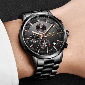 Image 5 - LIGE İzle erkekler üst marka lüks Chronograph spor İzle kuvars saat paslanmaz çelik su geçirmez erkek saatler Relogio Masculino