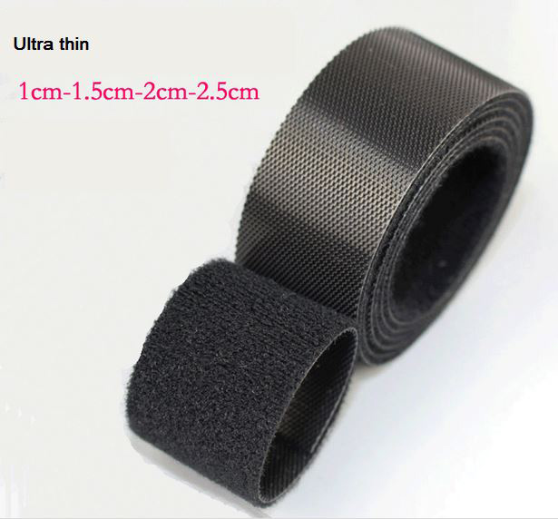 Black thin Hook and Loop fastening tape 2cm*5m or 2.5cm*5Meter Hook loop straps thin injected hook tape for nylon cable ties