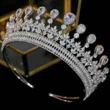 Acessórios do cabelo do casamento da tiara do casamento de zircônia luxo acessórios vestido banquete acessórios
