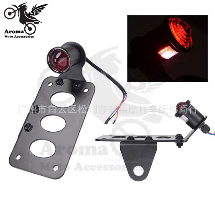 black scooter brake motorcycle tail light for harley LED moto tail light with license plate metal motorbike warning signal light