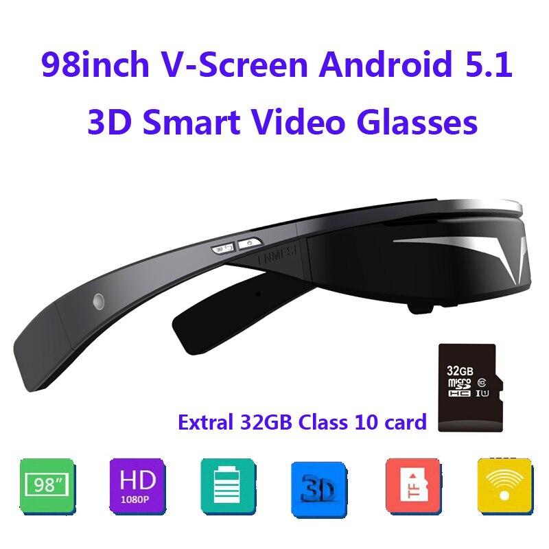 Обновленная версия! 1080 P 98 дюймов v-экран Android5.1 WiFi сенсорная кнопка трек мяч мини ПК 3D смарт-видео очки + г 32 г TFCard