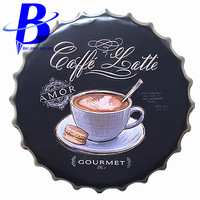 40cm Gourmet Chic Round Vintage Metal Signs Bar Coffee Shop Wall Decor Beer Bottle Cap Metal